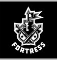 logo fortress castle and flag swords cross vector image vector image