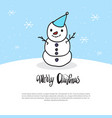 merry christmas card doodle snowman on blue vector image