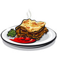 moussaka with sauce vector image vector image