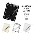 notebook and pen icon in cartoon style isolated on vector image vector image