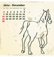 November 2014 hand drawn horse calendar vector image