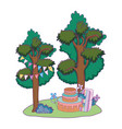 party sweet cake in the landscape vector image