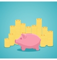 Pink piggy bank and stacks of gold coins vector image