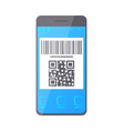 qr bar code on smartphone screen phone monitor vector image vector image