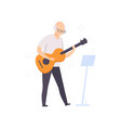 senior man character playing guitar elderly vector image vector image