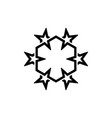 six star logo template with hexagonal cube line vector image