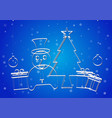 snowman presents ball and tree on blue gradient vector image