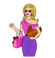 stylish beauty girl with chicken pop art vector image vector image