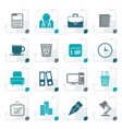 stylized business and office icons vector image vector image