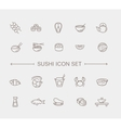 Sushi icon collection vector image