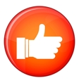 Thumb up sign icon flat style vector image vector image