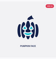 two color pumpkin face icon from halloween vector image vector image