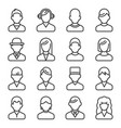 user icons set on white background line style vector image
