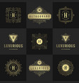 vintage logos and monograms set elegant flourishes vector image vector image