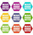 wave water icons set 9 vector image vector image