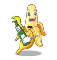 with beer tasty fresh banana mascot cartoon style vector image vector image