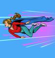 woman superhero flies female power vector image vector image