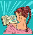 young woman reading a book vector image vector image