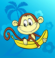 cute monkey with banana on abstract background vector image