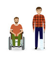 disability people concept two invalid men with vector image