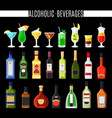 alcoholic beverages icons set vector image