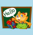 a cat student say hello vector image