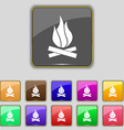 A fire icon sign Set with eleven colored buttons vector image vector image