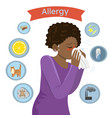 allergy triggers girl with allergies blows her vector image