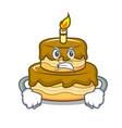 angry birthday cake mascot cartoon vector image vector image