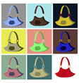 assembly flat icons handbag vector image