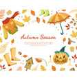 autumn season banner template with colorful leaves vector image