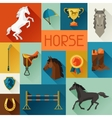 Background with horse equipment in flat style vector image