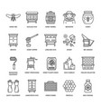 beekeeping apiculture line icons beekeeper vector image
