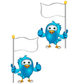 Blue Bird Thumbs Up Holding Flag vector image