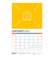 calendar planner template for 2018 year january vector image vector image