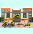 construction site staff working vector image