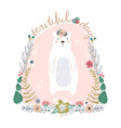 cute cartoon bear in floral wreath beautiful day vector image