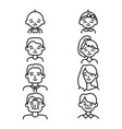 different ages people sign black thin line icon vector image vector image