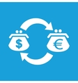 Dollar euro exchange white icon vector image