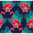 Flamingo lilies colorful seamless pattern vector image