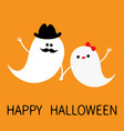 ghost spirit family set with lips mustaches happy vector image vector image
