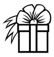 gift with bow icon vector image vector image