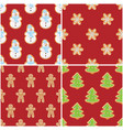 ginger cookies seamless patterns christmas and vector image