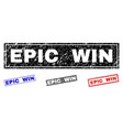 grunge epic win scratched rectangle stamp seals vector image vector image