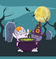 halloween cat and ghost cartoon vector image vector image