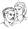 he and she pair two faces continuous line vector image vector image