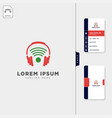 head phone wireless logo template free business vector image