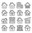 home icons set on white background line style vector image vector image