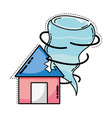 house with tornado storm disaster weather vector image vector image