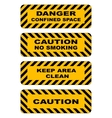 Industrial striped road warning yellow-black vector image vector image